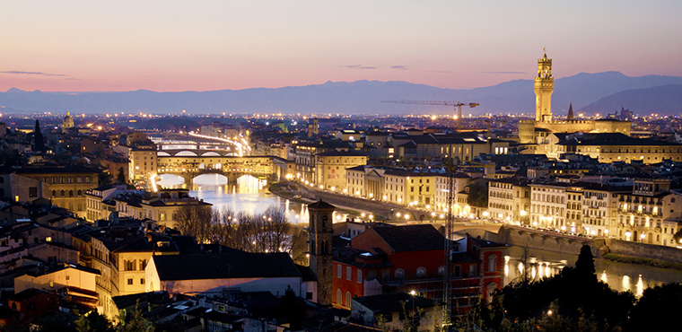 Electric Bike Night Tour of Florence with stunning view from Piazzale Michelangelo-Caftours
