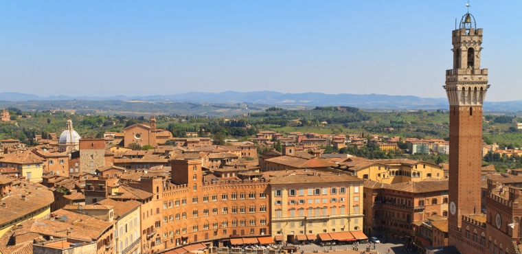Beautiful view of Piazza del Campo in Siena