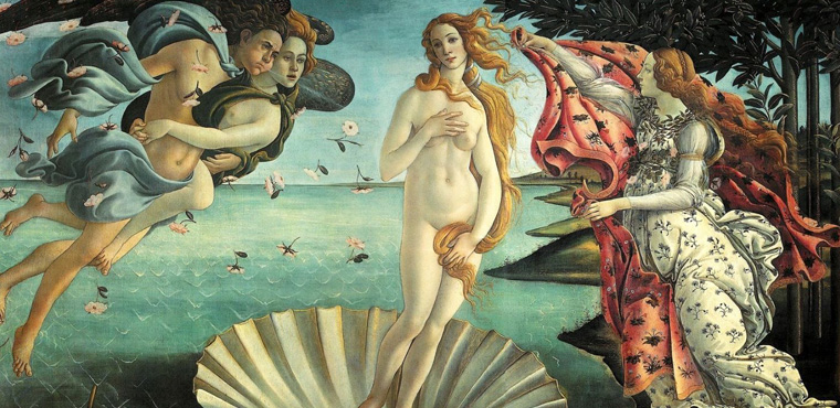 Birth of Venus by Sandro Botticelli at Uffizi Gallery in Florence