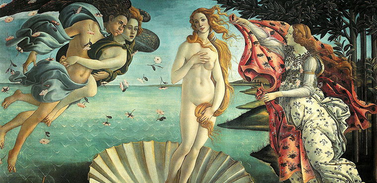Birth of Venus by Botticelli in Uffizi Gallery in Florence